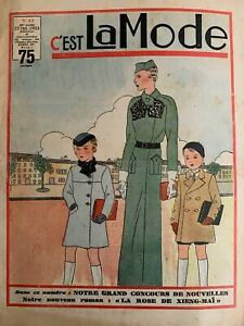 Vintage French C'EST LA MODE Magazine Oct 22, 1933 - Fashion & needlecraft