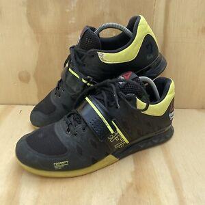 Reebok Crossfit CF74 Lifters 2.0 Powerbax Trainers - Black & Yellow Size UK 8.5