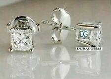 Silver princess cut created diamond stud earrings gift idea 4mm