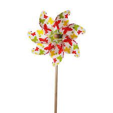 Windrad Schmetterling Windspiel Gartenstecker Gartendeko Design bunt H37cm Ø17cm