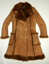 womens Sz 14 Vtg Baily's Sheepskin Long Coat Brown Real Shearling Wool SUPERB
