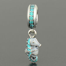 New Authentic Pandora Charm Tropical Seahorse Teal Dangle 791311MCZ