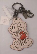 NWT COACH X DISNEY Mickey Mouse CHALK WHITE KEY CHAIN RING FOB 58994 Lim. Ed.
