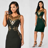 Fashion Women Sleeveless Lace Slim Bodycon Evening Party Cocktail Pencil Dresses