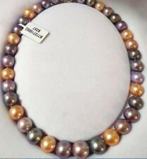 """18""""10-12mm genuine pink purple pearl necklace *"""