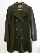 PENDLETON Black Long Wool Coat Lined Double Breasted Women's Size 6 Made in USA