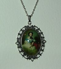 LARGE GLASS CAMEO LADY WITH FAN VICTORIAN STYLE DARK SILVER PLATED PENDANT