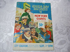 GREEN BAY PACKERS VS NEW YORK GIANTS GAME PROGRAM 1962  CITY  STADIUM  T*