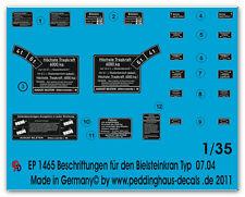 Peddinghaus  1465 1/35 Beschriftung für 6 ton Bielsteinkran Typ G07.04