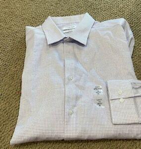 Calvin Klein STEEL Slim-Fit Non-Iron Stretch PURPLE Dress Shirt 17 X 36-37 XL