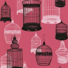 Vintage Birdcage Wallpaper Black/White on Shocking Pink