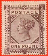 "SG. 129. J126. "" GG "". £1.00 Brown - lilac. Plate 1. A fine mounted mint example"