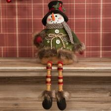 Sitting Snowman with Wooden Legs Christmas Decoration