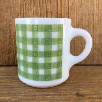 Vintage Hazel Atlas Milk Glass Mug / Coffee Cup Green Gingham Checks Print