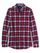 Lands End - Womens XL (18) - NWT - Gala Red/Navy Plaid Long Sleeve Flannel Shirt