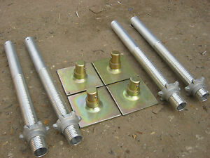 Set of 4 Alloy Tower Adj Leg + base plates Scaffold Tower  Fit BoSS etc
