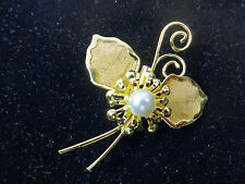 Ladies Floral Pearl Fashion Brooch New Unique Statement (Cl9)