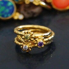 925 Silver 3 Pcs Peridot Amethyst White Topaz Stack Ring Set 24k Gold Vermeil