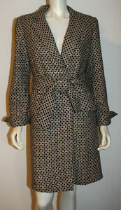 Saks Firth Avenue Brown Beige Tan Car Coat Trench Coat M 6 8 10 NEW NWT Belted