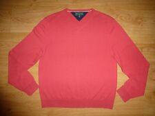 Men's Tommy Hilfiger Golf Thin Pink V Neck Cotton Jersey Jumper Top M Label XL