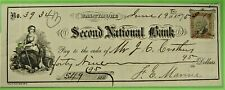 Bank Check, Baltimore, Second National Bank, Vignette of Prosperity woman.