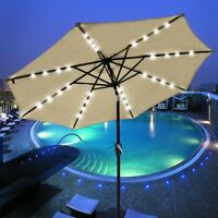 9' 8-rib Patio Outdoor Umbrella Crank Tilt Aluminium 32 Led Solar Powered  Beige