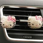 2pcs Cute Rhineston Crystal Hello Kitty Car Air Outlet Freshener Vent Clip Gift