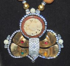 "VINTAGE~LAWRENCE VRBA~24""INCH NECKLACE~BRASS / WOOD / GOLD / RHINESTONES"
