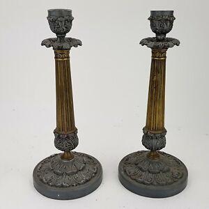 Empire Kerzenleuchter Bronze Kaminuhr Pendule candle sticks Restauration