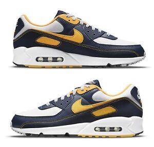 Nike Men's Air Max 90 'Michigan', White/Navy/Gold, DC9845 101, Sizes 9.5-13