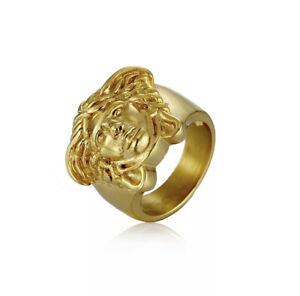 Ancient Greek Medusa Ring Titanium Gold Color Medusa Men Women