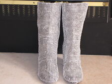 "DIY Crystal Boots size 8.5, ""Hand Customized"" Silver Boots"