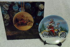 1997 Harley Davidson THE MORE THE MERRIER Porcelain Mini Plate Ornament EXLNT