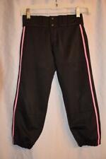 EASTON youth M -- Black BASEBALL PANTS w/ pink stripe -- Boys or Girls