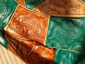 Sit-on Leather Ottoman Footstool Medium Beige Turquoise