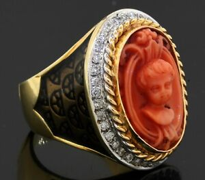 Heavy 18K yellow gold VS 0.54CT diamond carved coral cameo ring size 9.25