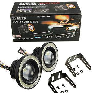 "2pcs 3.5"" Super White COB LED Driving Fog Lamp Work Light W/ Halo Angel Eye Ring"