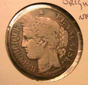 1895 France 1 Franc Original Ch VF Original Toning French Silver One Franc Coin