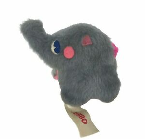 "Vintage 70s Russ Berrie Jumbo Elephant Plush Beanbag Stuffed Animal 5"" USA Made"