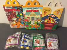 1988 McDonald's Garfield Happy Meal 2 boxes & 4 unopened toys inc 1 under 3 toy