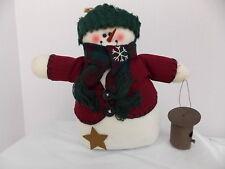 SNOWMAN GREEN HAT BURGANDY SWEATER PLAID SCARF  CARROT NOSE, STAR,BIRD HOUSE