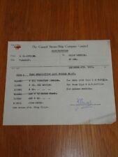 CUNARD STEAMSHIP COMPANY ORIGINAL MEMORANDUM FOR ARABIA 1955