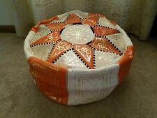 Moroccan orange/natural leather pouf