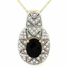 2.20ctw Diamond & Onyx Necklace Solid 14K Gold
