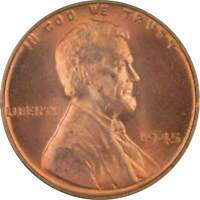 1945 Lincoln Wheat Cent BU Uncirculated Mint State Bronze Penny 1c Coin