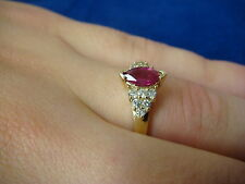 NICE 14K YELLOW GOLD RUBY AND DIAMONDS LADIES RING 2.7 GRAMS SIZE 7