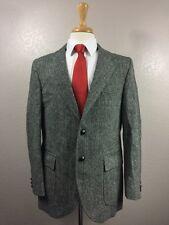 * HARRIS TWEED * 100% Scottish Wool 2 Leather Btn Sport Coat Sz 42R