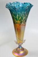 Gold luster vase with Aqua Marine Oil Spot Design By Saul Alcaraz. Blown Glass