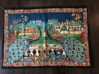 Vintage 1950's Peacock Turkish Wall Hanging 51x38 Colorful