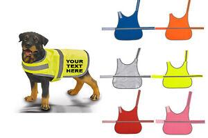 HIGH VIS DOG SAFETY VEST COAT REFLECTIVE PET HI-VIS CUSTOM PRINT PERSONALISED